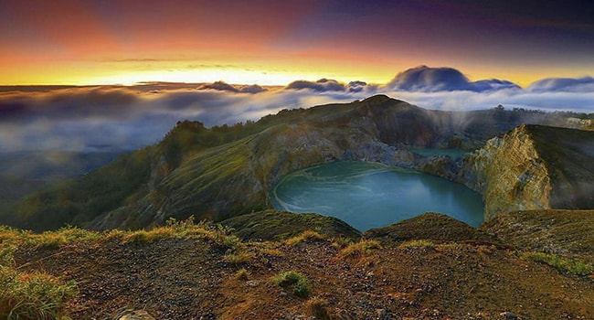 Sunrise at Kelimutu Lake